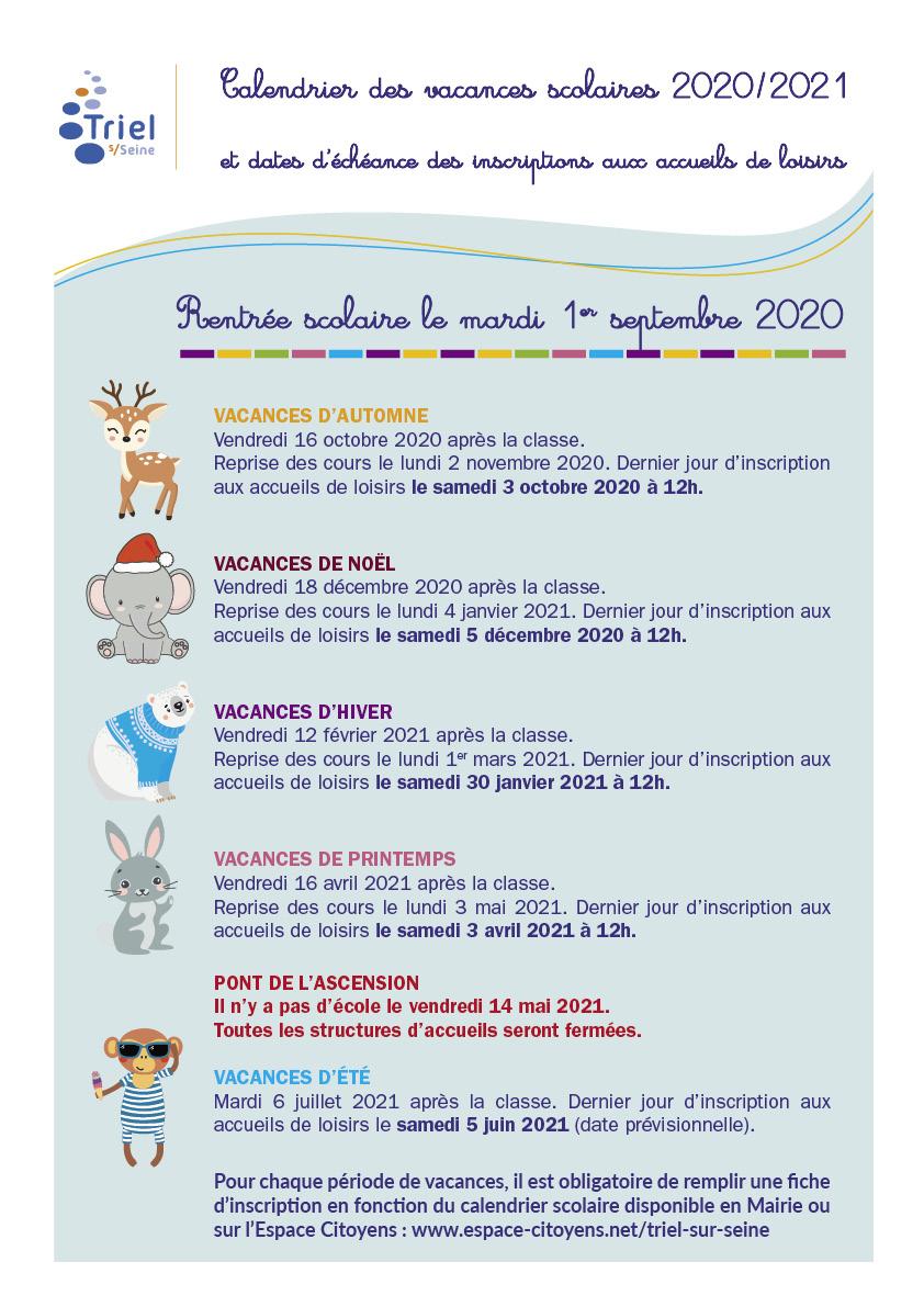 Calendrier De Laprès 2021 Calendrier des vacances   Triel sur Seine